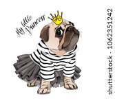 Stock vector pug dog in a striped cardigan in a black tutu skirt and with a gold princess crown vector 1062351242