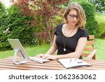 businesswoman sitting in the... | Shutterstock . vector #1062363062