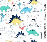 hand drawing dinosaur pattern... | Shutterstock .eps vector #1062378932