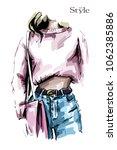 hand drawn female body in jeans ... | Shutterstock .eps vector #1062385886