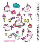 set of fantasy unicorn cute...   Shutterstock .eps vector #1062401378