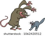 rat scares the cat on a white... | Shutterstock .eps vector #1062420512