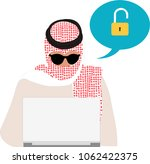 arab hacker hacking computer  | Shutterstock .eps vector #1062422375