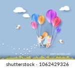 beautiful woman with her... | Shutterstock .eps vector #1062429326