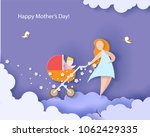 beautiful woman with her baby.... | Shutterstock .eps vector #1062429335