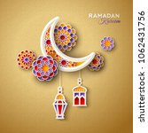 islamic crescent moon with... | Shutterstock .eps vector #1062431756