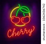 cherry neon sign with berries... | Shutterstock .eps vector #1062436742