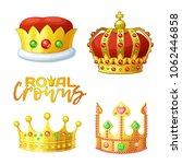 set of golden royal crowns in... | Shutterstock .eps vector #1062446858