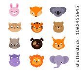 cute baby animal faces set....   Shutterstock . vector #1062455645