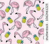 flamingo and pineapple drawings ... | Shutterstock .eps vector #1062461225