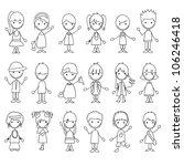 18 cartoon characters doodle... | Shutterstock .eps vector #106246418
