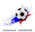soccer ball with russia flag...   Shutterstock .eps vector #1062481502