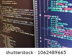 writing programming code on... | Shutterstock . vector #1062489665