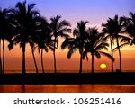 Stock photo hawaiian sunset on big island anaehoomalu bay 106251416