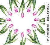 watercolor pink tulip flower... | Shutterstock . vector #1062514532