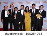 Small photo of Cast and crew of 'Slumdog Millionaire' in the press room at the 66th Annual Golden Globe Awards. Beverly Hilton Hotel, Beverly Hills, CA. 01-11-09