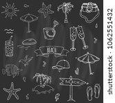 hand drawn doodle beach set... | Shutterstock .eps vector #1062551432