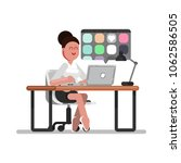 woman designer searching | Shutterstock .eps vector #1062586505