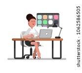 woman designer searching | Shutterstock .eps vector #1062586505