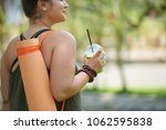 smiling obese woman looking...   Shutterstock . vector #1062595838