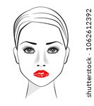 beautiful woman with red lips | Shutterstock .eps vector #1062612392