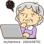 grandmother using a laptop...   Shutterstock .eps vector #1062638702
