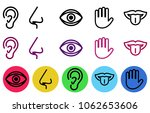 icon set of five human senses.... | Shutterstock .eps vector #1062653606