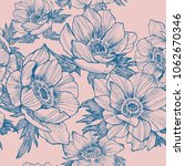 vector vintage anemone seamless ... | Shutterstock .eps vector #1062670346