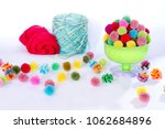 colorful pom poms crafts  in... | Shutterstock . vector #1062684896