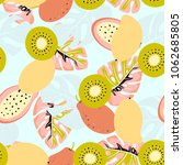 seamless pattern of mango  kiwi ... | Shutterstock .eps vector #1062685805