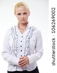 beautiful young woman in a blouse - stock photo