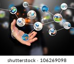 hand holding business diagram | Shutterstock . vector #106269098