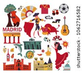 madrid. spain. set of vector... | Shutterstock .eps vector #1062716582