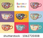 summer teatime. cute collection ... | Shutterstock .eps vector #1062720308