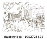freehand sketch of backyard... | Shutterstock .eps vector #1062726626