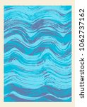 stylized blue waves  hand drawn ... | Shutterstock .eps vector #1062737162