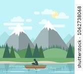 vector flat landscape with man... | Shutterstock .eps vector #1062738068