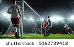 soccer game moment  on... | Shutterstock . vector #1062739418