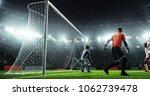 soccer game moment  on... | Shutterstock . vector #1062739478
