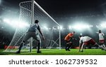 soccer game moment  on... | Shutterstock . vector #1062739532