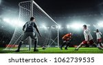 soccer game moment  on... | Shutterstock . vector #1062739535