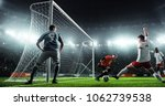 soccer game moment  on... | Shutterstock . vector #1062739538
