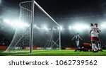 soccer game moment  on... | Shutterstock . vector #1062739562