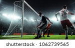 soccer game moment  on... | Shutterstock . vector #1062739565