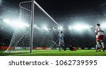soccer game moment  on... | Shutterstock . vector #1062739595
