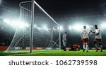 soccer game moment  on... | Shutterstock . vector #1062739598