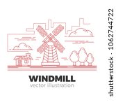 countryside windmill in... | Shutterstock .eps vector #1062744722