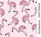flamingo drawings seamless... | Shutterstock .eps vector #1062745646