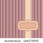 Frame with ribbon over pink and chocolate pinstripe background - stock vector