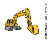yellow front hoe loader... | Shutterstock .eps vector #1062754016